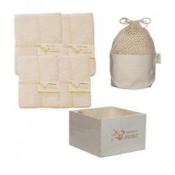 Kit Eco Chou Bambou couleur: 10 carrés bébé + 10 gants de change +1 boîte +1 filet en coton