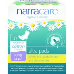 Natracare 10 Serviettes ultra longues a ailettes les copines bio