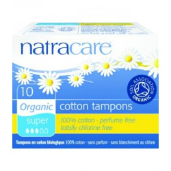 10 Tampons super sans applicateur en coton bio 20gr