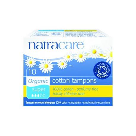 Natracare 10 Tampons super sans applicateur en coton bio hygiène féminine les copines bio