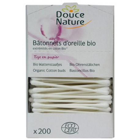 Douce Nature Bâtonnets d'oreille en coton bio x200