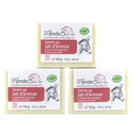 Lot de 3 Savons 40% lait d'ânesse bio Beurre de Karité et extrait de Calendula 3 x 100gr les copines bio