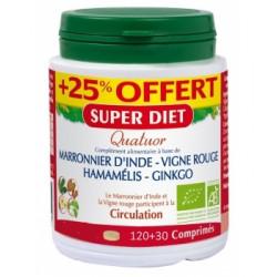 Super Diet Quatuor Marronnier d'Inde Hamamélis Vigne rouge Ginkgo 120 + 30 comprimés