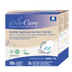 Silvercare Serviettes nuit 100% coton bio Ultra minces avec ailettes 10 unités les copines bio protection hygiénique