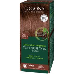 Logona Coloration végétale Ton sur Ton poudre 091 Chocolat chaud 100 gr coloration capillaire les copines bio