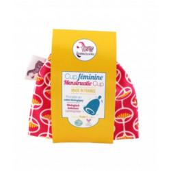 Cup féminine Taille 2 pochette en coton bio rose Les Copines Bio Hygiene bio