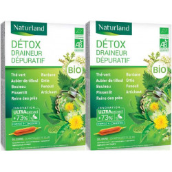 Naturland Detox Bio Lot de 2 boîtes de 20 ampoules buvables draineur bio les copines bio detox buvable Les copines bio