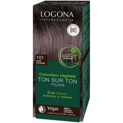 Logona Coloration végétale Ton sur Ton Noir Intense 101 en poudre 100gr Soin colorant végétal les copines bio