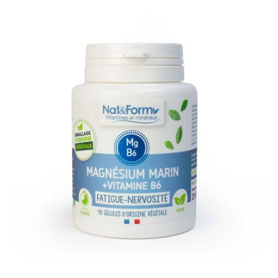 Nat et Form Magnésium marin Vitamine B6 Original 40 gélules stress nervosité sommeil les copines bio