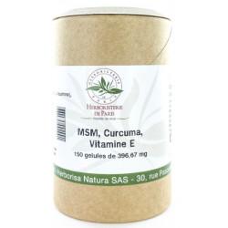Herboristerie de Paris M.S.M Curcuma Vitamine E 150 gélules methyl sulfonyl methane curcumine les copines bio