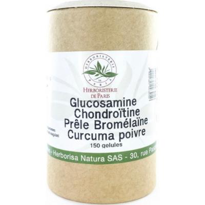 Herboristerie de paris Glucosamine chondroïtine Prêle Bromélaïne Curcuma Poivre 150 Gélules les copines bio