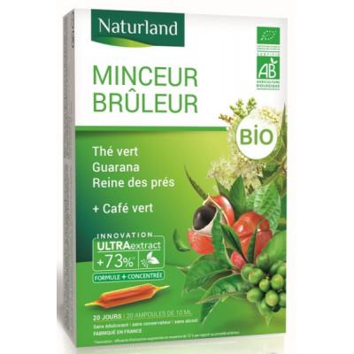Naturland Minceur brûleur Thé Vert Café Vert guarana Reine des prés Bio 20 ampoules Les copines bio