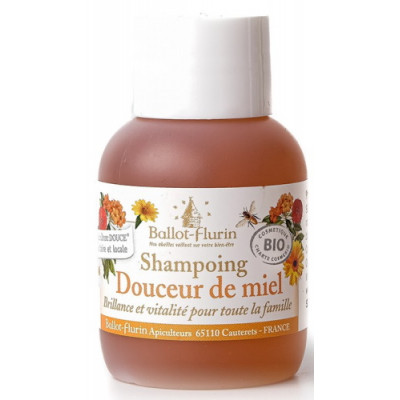 Ballot Flurin Shampoing douceur de miel 30% de miel Grand cru 50 ml Les Copines Bio Hygiène bio