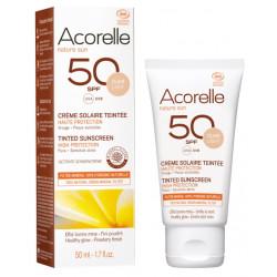 Crème Solaire teintée SPF 50 clair 50ml Acorelle protection bio les copines bio