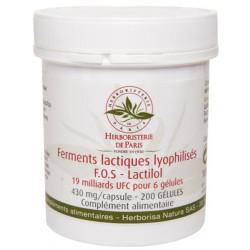 Herboristerie de paris Ferments lactiques lyophilisés F.O.S Lactilol 200 Gélules microbiotiques les copines bio