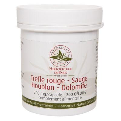 Herboristerie de Paris Trèfle rouge Sauge Houblon Dolomite 200 Gélules pré ménopause Les copines bio