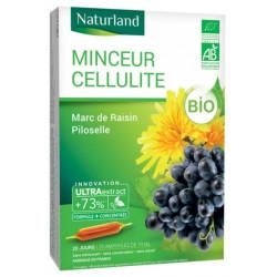 Naturland MINCEUR CELLULITE Bio Marc de raisin Piloselle 20 ampoules de 10ml  silhouette Les copines bio