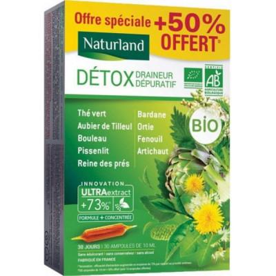 Naturland Détox Draineur Dépuratif Bio 9 plantes 20 ampoules de 10ml + 50 % offert minceur Les copines bio