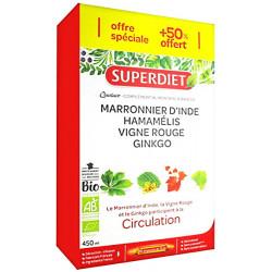 Super Diet Quatuor Marronnier d'Inde Hamamélis Vigne rouge Ginkgo 20 ampoules 10 gratuites les copines bio