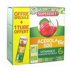 Super Diet Acérola 500 bio + 1 tube OFFERT soit 36 comprimés vitamine C naturelle Les copines bio