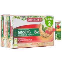 Super Diet Ginseng gelée royale bio acérola bio 2x20 ampoules + 1 acerola gratuit les copines bio