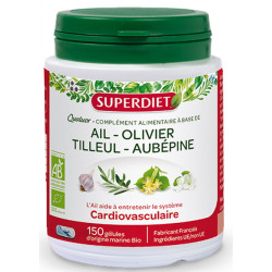 Super Diet Quatuor Ail Olivier Tilleul Aubépine Bio 150 gélules aide cardiovasculaire Les copines bio