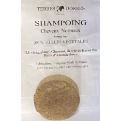 Terres dorées Shampoing solide Cheveux normaux 100 pour cent végétal 60 gr shampooing écologique Les copines bio