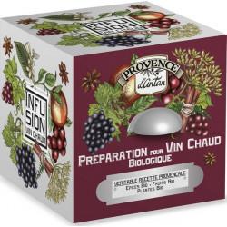 Provence d'Antan Préparation pour vin chaud bio cube 24 sachets Boite métal avec ou sans alcool Les copines bio