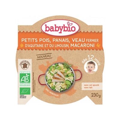 Babybio Assiette Menu du jour Mijoté Petits Pois Panais Veau et Macaroni dès 12 mois 230gr Beauté et Bien-être Les Copines Bio