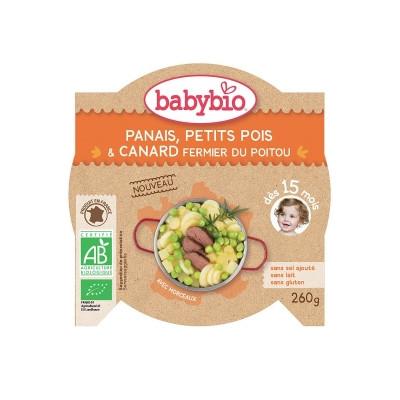 Babybio Assiette Menu du Jour Rencontre Panais Petits pois Canard fermier dès 15 mois 260gr Beauté et Bien-être Les Copines Bio.