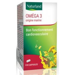 Naturland Oméga 3 180 Capsules de 520mg fonction cardiovasculaire les copines bio