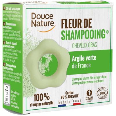 Fleur de shampooing cheveux gras - Douce Nature Ortie Karité Argile verte 85g Les copines bio