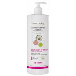 Dermaclay Shampooing Douche Familial 2 en 1 1L Argile rose argile blanche Camomille Rose Les copines bio