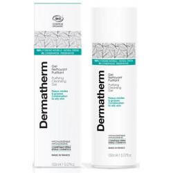 Dermatherm Gel nettoyant Purifiant peaux mixtes et grasses 150 ml zone en T aloe vera Les copines bio