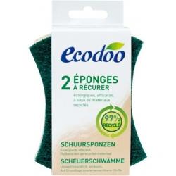 Ecodoo 2 Eponges vertes à récurer en matières recyclées à 97% x2 accessoire pour produit d'entretien Les Copines Bio