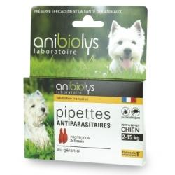 Anibiolys 2 Pipettes antiparasitaires petit et moyen chien 2ml 2.0ml produit de protection pour les chiens Les Copines Bio