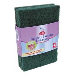 Droguerie Ecologique 4 tampons à récurer fabriqués à 100% à partir de bouteilles plastiques x4 accessoire de nettoyage pour la m