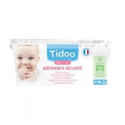 Tidoo 50 Bâtonnets sécurité Coton bio TidooCare x50 produit de soin et de toilette pour bébé Les Copines Bio