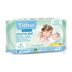 Tidoo 58 Lingettes compostables au Calendula Naturellement Parfumées x58 produit de soin pour le change de bébé Les Copines Bio