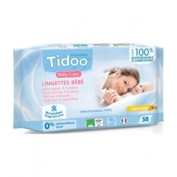 Tidoo 58 Lingettes compostables au Calendula Sans Parfum x58 produit de soin et de toilette pour bébé Les Copines Bio