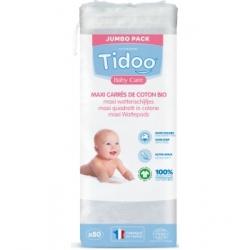 Tidoo 80 Maxi Carrés de Coton Bio TidooCare x80 Produit d'Hygiène pour le change de bébé Les Copines Bio