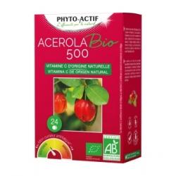 Phyto-Actif Acerola BIO 500 2 tubes de 12 comprimés x24 Complément alimentaire Les Copines Bio