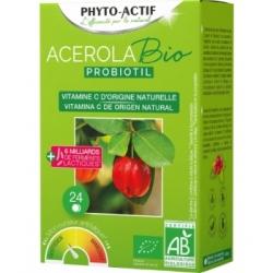 Phyto-Actif Acérola Probiotil  à partir de 6 ans 24 comprimés Complément alimentaire Les Copines Bio
