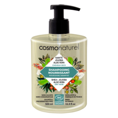 Cosmo Naturel Shampooing cheveux secs - 500 ml shampoing bio lescopinesbio