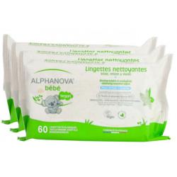Alphanova Lot de 3 X 72 Lingettes Coton Biodégradable Amande douce