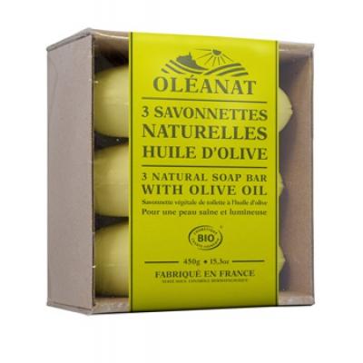Oleanat Barquette de 3 Savonnettes Huile d'Olive 3x150gr produit d'hygiène pour le corps Les Copines Bio