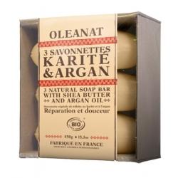 Oleanat Barquette de 3 Savonnettes Karité Argan 3x150gr produit d'hygiène pour le corps Les Copines Bio