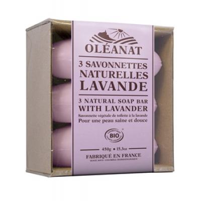 Oleanat Barquette de 3 Savonnettes Lavande 3x150gr produit d'hygiène pour le corps Les Copines Bio