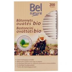 Bel Nature Bâtonnets d'oreille boîte distributrice coton bio 200 unités produit de nettoyage pour les oreilles Les Copines Bio