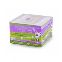 Silvercare Bâtonnets sécurité ouatés embouts 100 pc coton bio bébé 200ml produit de nettoyage pour les oreilles Les Copines Bio